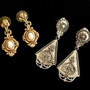 2 Pair of Vintage Earrings-Gold and Silver